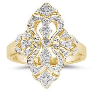 10K Yellow Gold Diamond Cocktail Ring