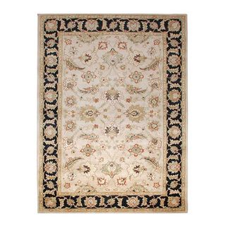 Hand tufted Beige and Black Wool Area Rug (9 x 12)
