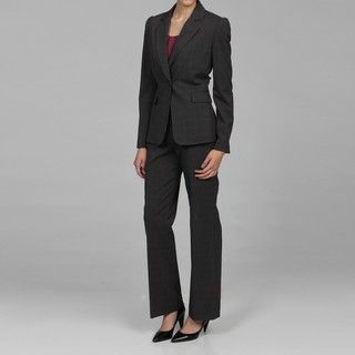 Tahari Womens Dark Grey Plaid Pant Suit