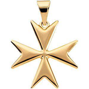14k Yellow Gold Maltese Cross Pendant 18mm   JewelryWeb