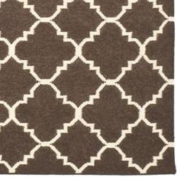Moroccan Brown/ Ivory Dhurrie Wool Rug (9 x 12)