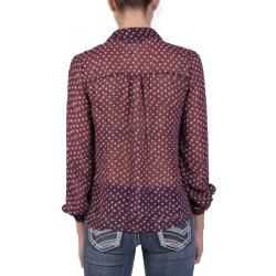 Journee Collection Juniors Lightweight Long sleeve Button up Blouse