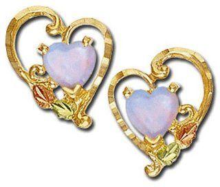 Landstroms Black Hills Gold Heart Earrings with Opal