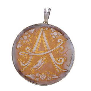 18k White Gold Shell Letter A 44 mm Round Cameo Pendant