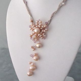 Pearl and Crystal Silk Pink Star Flower Necklace (4 10 mm)(Thailand