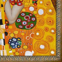 Gustav Klimt The Kiss Rustic Aspen Framed Canvas Art