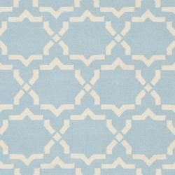 Moroccan Light Light Blue/ Ivory Dhurrie Wool Rug (5 x 8