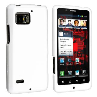 White Snap on Rubber Coated Case for Motorola Droid Bionic XT875