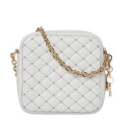 Dolce & Gabbana White Quilted Leather Cross body Bag
