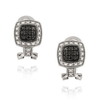 DB Designs Sterling Silver Black Diamond Accent Black and White Cuff