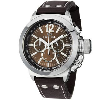 TW Steel Mens Ceo Canteen Brown Dial Brown Leather Strap Watch