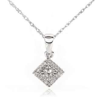 10k White Gold 1/10ct TDW Diamond Cluster Halo Necklace (H I, I1 I2