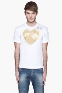Comme Des Garçons Play  White Gold Foil T shirt for men