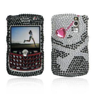 Black Skull BlackBerry Curve 8300/ 8330 Rhinestones Case