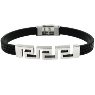Stainless Steel and Black Rubber Mens Greek Key Bracelet
