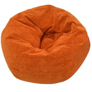 Sueded Corduroy Jumbo Orange Bean Bag Chair