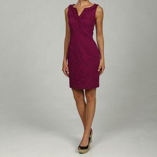 Julian Taylor Ruffle V Neck Sleeveless Dress
