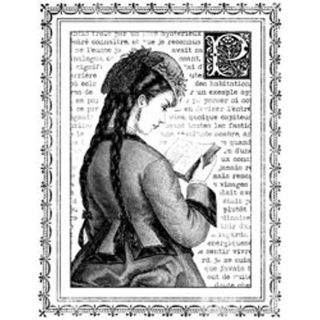 Magenta Young Girl Reading Cling Stamps