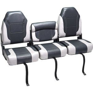 DeckMate Bass Boat Bench Seat (2)   Charcoal Gray & Light