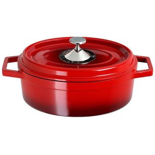 Art & Cuisine Cocotte Red 6.8 quart Cast Aluminum Oval Roaster Pan
