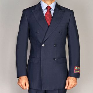 Giorgio Fiorelli Mens Navy Blue Double Breasted Suit
