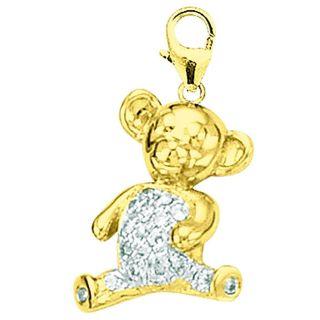 14k Gold 1/10ct TDW Diamond Teddy Bear Charm