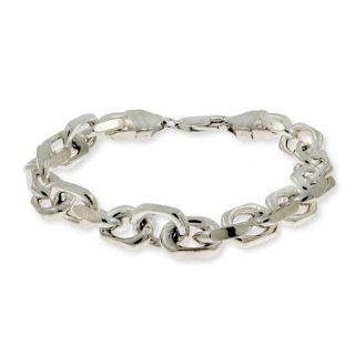 Linked Anchor Chain Mens Sterling Silver Bracelet Eves