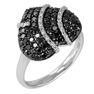 18kt White Gold 1 1/12ct TDW Black and White Diamond Heart Ring (H I
