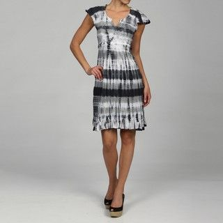 RXB Womens Grey Cap Sleeve Tie Dye Dress