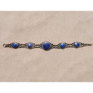 Hand made Blue Lapis Lazuli Chain Bracelet (Afghanistan)