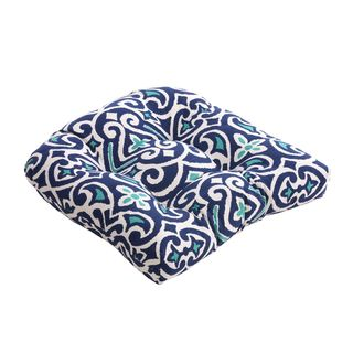 Blue/White Damask Chair Cushion