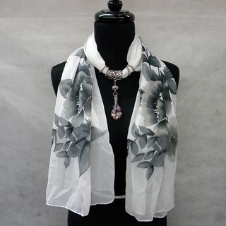 Black and White Floral Fashion Jewelry Scarf with Orchid Pendant in