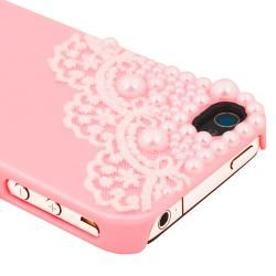 Pink with Lace and Pearl Snap on Case for Apple iPhone 4/ 4S