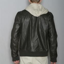 American Rag Mens Brown Hooded Faux Leather Jacket