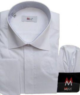 MMUGA Herren Hemd, Businesshemd Umschlagmanschetten Weiß, Größen S