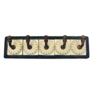 Wandhaken Keramik + Holz Haken 5er Vintage Küche