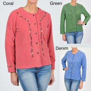 La Cera Womens Embroidered Fleece Jacket