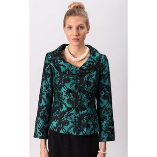 Grace Gallo New York Womens Audrey Green Printed Fitted Jacket