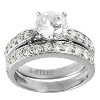Journee Collection Steel Cubic Zirconia Engagement style Ring Set