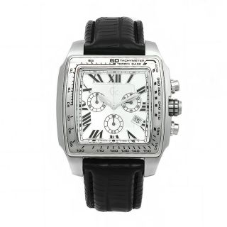 Guess Collection Mens Black Leather White Dial Chronograph Watch