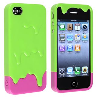 BasAcc Green/ Pink Ice Cream Snap on Case for Apple® iPhone 4/ 4S