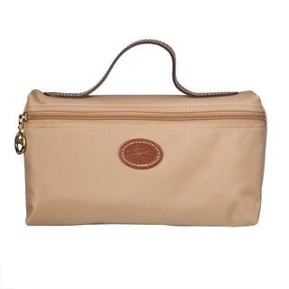 Longchamp Beige Le Pliage Cosmetic Bag