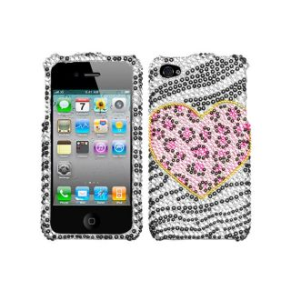 Premium Apple iPhone 4/ 4S Zebra/ Leopard/ Heart Rhinestone Case