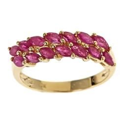 Yach 10k Gold Thai Ruby and Tanzanite Ring