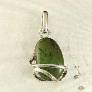 Sterling Silver Caged Mint Green Baltic Amber Pendant (Lithuania