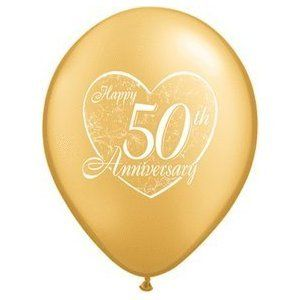 (12) 50th Anniversary Latex Balloons 11 Gold Color and