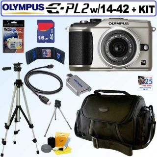 Olympus Pen E PL2 12.3MP DSLR Camera with 14 42MM II Lens and 16GB Kit