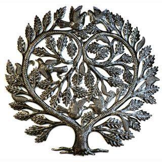 Recycled Steel Tree of Life Lovers Heart Wall Art (Haiti