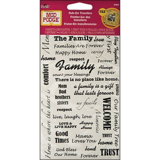 Mod Podge Rub On Transfers Friends, Family, Welcome, Love Words