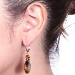 Angelina DAndrea 14k Goldplated Tigers Eye and Brown Crystal